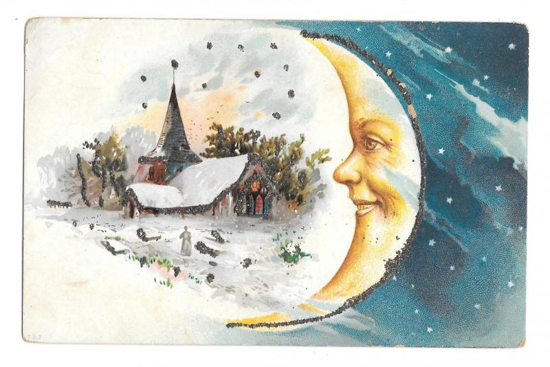 Christmas Man in the Moon Snow Covered Church Vintage Embossed Glitter Postcard