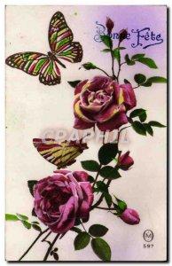 Old Postcard Fantasy Flowers Butterfly Butterflies