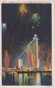 Fireworks Display Over Lagoon Chicago World's Fair 1933 Curteich