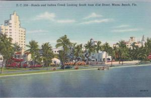 Florida Miami Beach Hotels and Indian Creek Looking South From 41st Street Cu...
