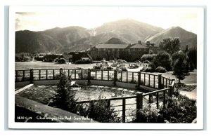 Postcard Challenger Inn Pool, Sun Valley ID 1952 RPPC R55