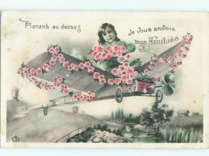 tinted rppc c1910 Aviation AIRPLANE WITH FLOWERS AC8971