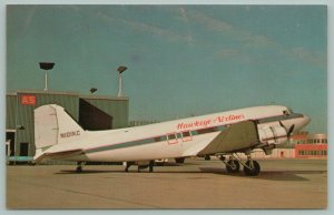 Des Moines Iowa~Hawkeye Airlines~Douglas DC-3 Airplane~Airport~Postcard~1974
