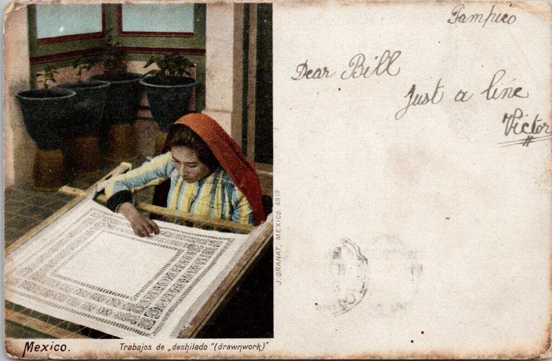 Mexico Woman Drawnwork Trabajos de deshilado Granat c1904 w/ Stamp Postcard F52