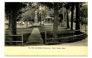 MA - South Hadley. The Park & Soldiers Monument