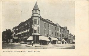 Vintage Postcard Hildreth Hotel and Opera House Charles city Iowa IA