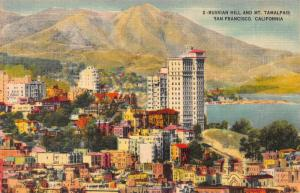 Russian Hill & Mt. Tamalpais, San Francisco, California, Early Postcard, Unused