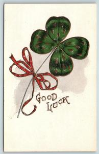 Postcard Good Luck Four 4 Leaf Clover Tied with Red Ribbon Pre 1908 R53