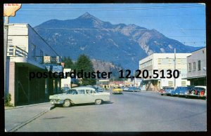 5130 - HOPE BC Postcard 1930s Wallace Street. Classic Cars. Stores