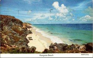 Vintage Postcard Pompano Beach FL - CHROME SHORE ROCKS VINTAGE BERMUDA POSTED
