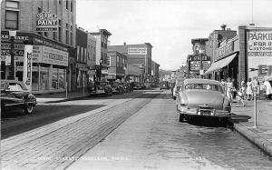 Rockland ME Movie Theatre Marquee Storefronts Old Cars RPPC Postcard