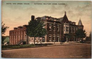 Leavenworth KS Postcard National Military Home HOTEL & OPERA HOUSE Hand-Colored