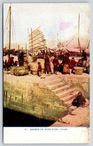 Hong Kong China~Harbor Wharf Steps~Fish Baskets~Ships With Sails~c1910 Postcard