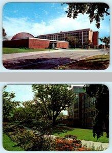 2 Postcards EAST LANSING ~ MICHIGAN STATE UNIVERSITY Planetarium, Library Garden
