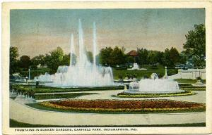 Fountains in Sunken Gardens at Garfield Park - Indianapolis, Indiana - pm 1925