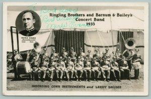 Ringling Bros~Barnum & Bailey Circus Band~Merle Evans~Sousaphone~1933 RPPC