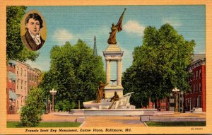 Maryland Baltimore Francis Scott Key Monument Eutaw Place Curteich