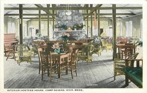 Ayer Massachusetts~Wicker Chairs~Interior of Hostess House at Camp Devens 1920