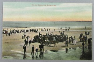 On The Beach, Old Orchard ME 1907 Postcard - Horse & Wagon (#7130)