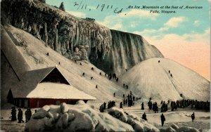 Niagara Falls,NY American Falls - Ice Mountain - vintage New York Postcard