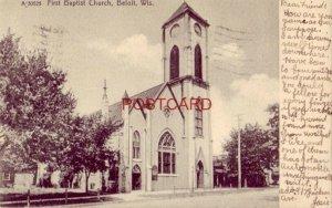 pre-1907 FIRST BAPTIST CHURCH, BELOIT, WIS. 1907