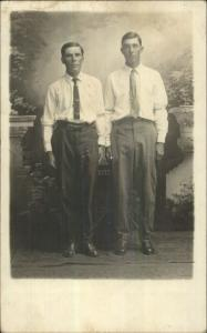 Men Pose Studio - Grenoia KS Cancel c1910 Real Photo Postcard