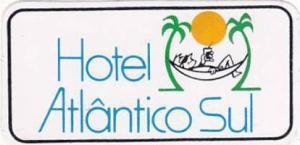 BRASIL RIO DE JANEIRO HOTEL ATLANTICO SUL VINTAGE LUGGAGE LABEL