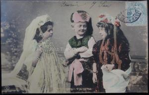 Children Playing at Dressing Up in TURKISH COSTUME Wonderful Postcard c1905