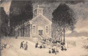 Vermont  Bennington, Painting by Leroy Williams, Easter Morning Mass, St. Fra...