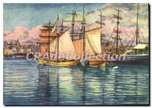 Modern Postcard Lobster boats in Marseille The Old Port illustrator TANNER 1939