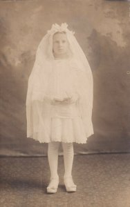 RP: Little GIrl dressed in her First Communion, 1900-10s