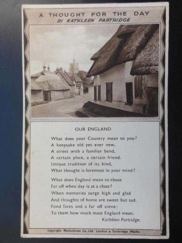 Verse & Poem OUR ENGLAND A Thought For The Day by Kathleen Partridge Old PC
