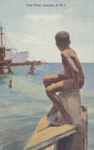 Jamaica Kingston Harbour Young Native Coin Diver 1939 Curteich