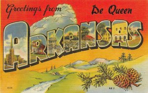 AR, Arkansas  DE QUEEN Large Letter Linen  SEVIER COUNTY  c1940's Postcard