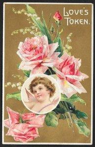 Loves Token Cupid & Roses Unused c1910s