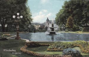 WEISBADEN, Hesse, Germany, 1900-1910's; Kurgarten, Fountain