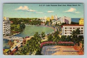 Miami FL-Florida, Lake Pancoast Hotels,Tennis,Boats,Bridge, Linen c1950 Postcard