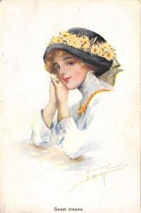 Lovely Lady~Sweet Dreams~Chin on Hands~Black Hat~Daisies~Artist~MSiB~Russian