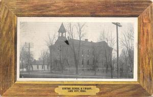 Lake City Iowa~Central School & Library~House Next Door~Such a Grand Time~1909