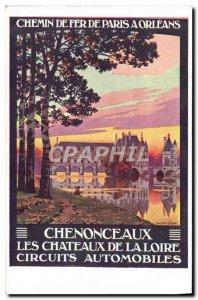 Postcard Old Train Paris Railway has Orleans Road Racing Chenonceaux