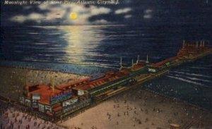 Moonlight View of Steel Pier in Atlantic City, New Jersey