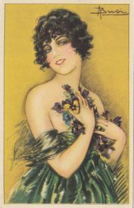BUSI ; Art Deco Female Portrait with Pansy Flowers , 1910-30s