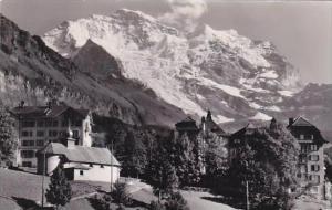 Switzerland Wengen Kapelle und Jungfrau Real Photo