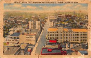 Ohio Looking South from First Central Tower Building Akron Postcard