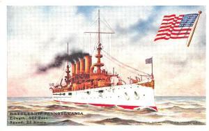 U.S.S. Battleship Pennsylvania Early Postcard