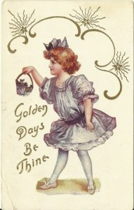 Victorian Girl with Basket full of Purple Violets Golden Days Be Thine