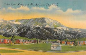 Cedar City Utah scenic view Cedar Crest Lodge and Motel antique pc Z22337