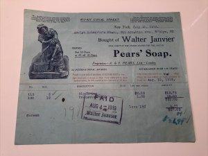 1919 PEARS' SOAP Walter Janvier 'You Dirty Boy' Pharmacy Canal NEW YORK Billhead