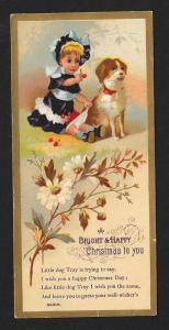VICTORIAN TRADE CARD Happy Christmas Girl & Dog