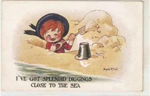 Donald McGill. I've got splemdid diggings.... Humorous vintage postcard